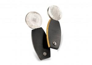 Ohrschmuck | Ebenholz | 935 Silber | schwarze Brillanten | Blattgold