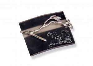 Brosche | Acryl | 935 Silber | Emaille | Blattsilber