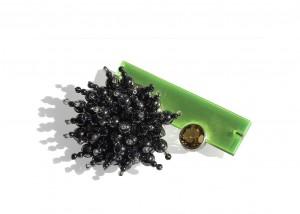 Brosche | Acryl | 935 Silber | Hämatit | Bergkristall | Goldtopas