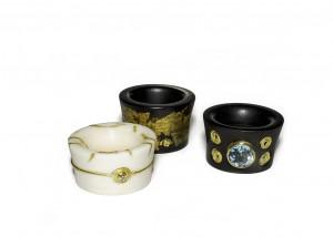 Ringe | Ebenholz | Elfenbein | 750 Gold | Brillanten | Blautopas | Blattgold
