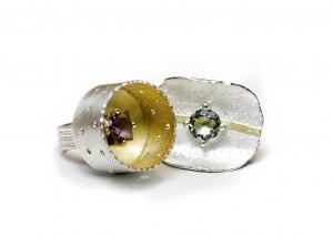 750 Gold | 935 Silber | Amethyst | grüner Amethyst | Blattgold