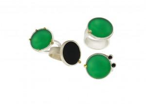 Ringe | Achat | 750 Gold | 935 Silber | Brillanten | Onyx