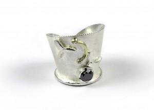 Ring  | 750 Gold | 935 Silber | schwarzer Brillant | Brillanten